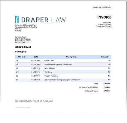 Clio   NYSBA  Legal Invoice Template